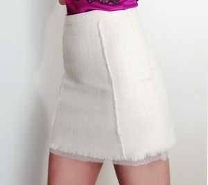 Zara White Tweed Skirt with Dotted Lace Detail